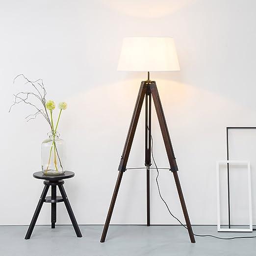 Diseño lámpara de pie trípode con pantalla de tela, Madera Telekop ...