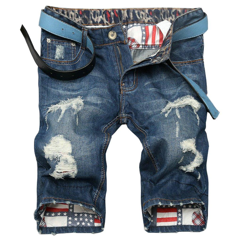 LIYT Mens Fashion Straight Broken Hole Denim Shorts Casual Shorts