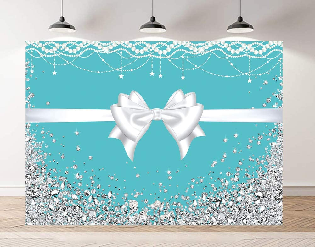 HD 7x5ft Bowknot Backdrop Gorgeous Shining Diamonds Photography Background 30th Birthday Party Anniversary Celebration Cotton Backdrop Photo Booth Props EALS493