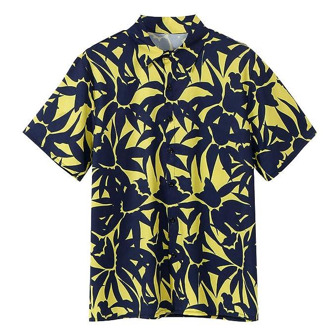 Berimaterry Polos Manga Corta Básico Botones Camisa Hawaiana ...