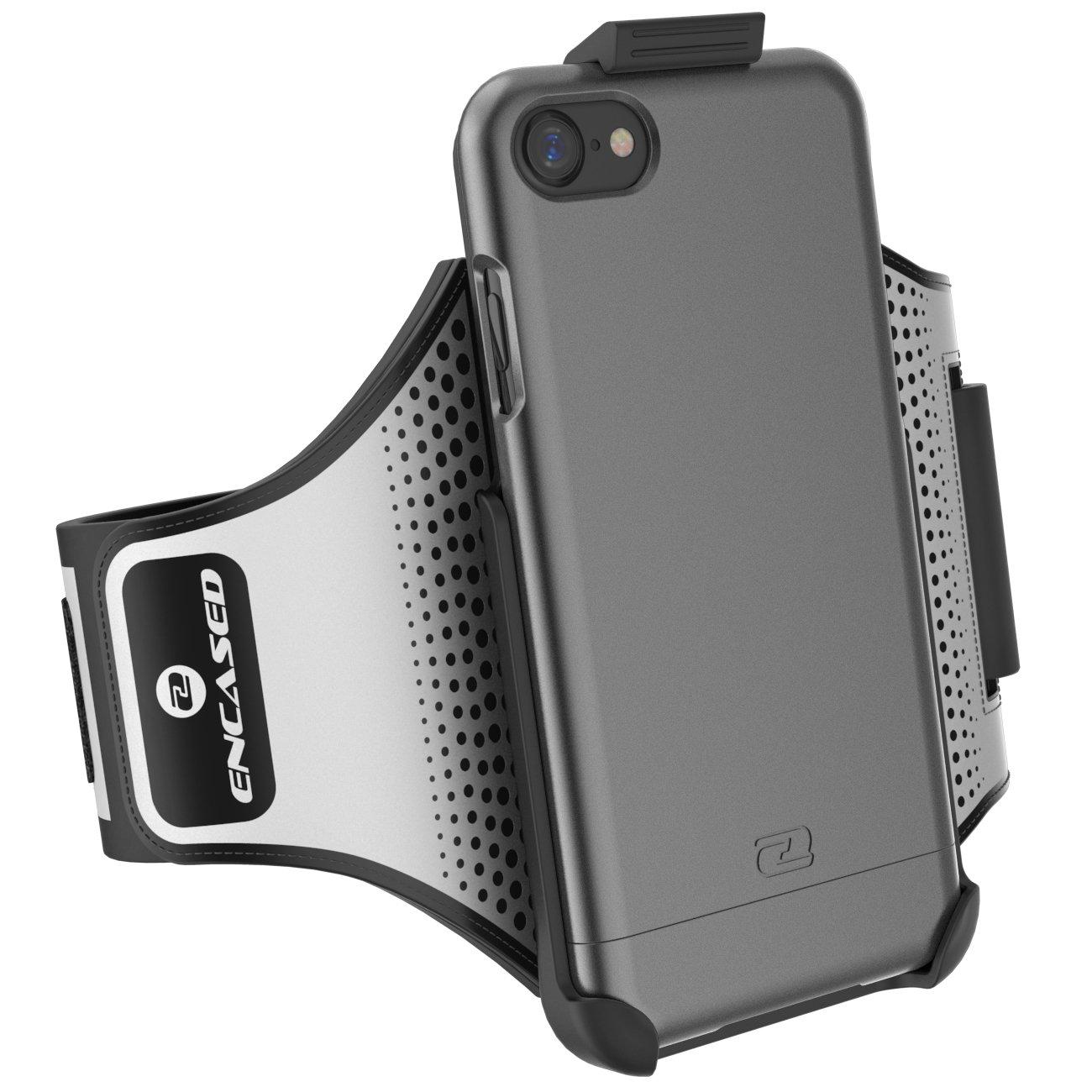 iPhone 7アームバンド&スポーツケース(2個セット)ケース入りClick-N-Goアームバンド(ハイブリッドカバー付き)(メタリックグレー)   B01M10TWKM
