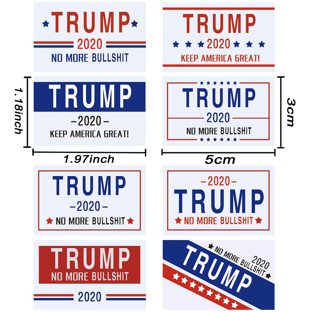 Trump Stickers for Election Day Parade Celebrations Patriotic Election Stickers for Supporting President 8 Patterns-White Six Senses Media 820Pcs Trump 2020 Stickers