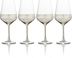 Mikasa Electric Boulevard Gold Water Goblet, 20-Ounce, Set of 4