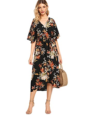 984c0b5e6da4 Milumia Women s Boho Split Tie-Waist Vintage Print Maxi Dress Small  Multicolor-1