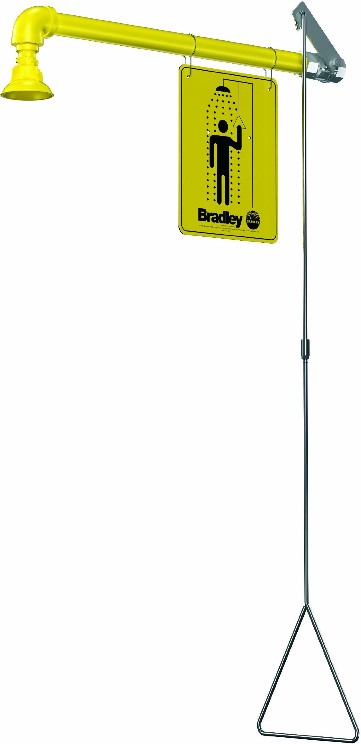 Bradley S19-120BF Galvanized Steel 1 Spray Head Barrier Free Safety Shower with Plastic Showerhead, Wall Mount, 20 GPM Water Flow, 9'' Width x 45'' Height x 24'' Depth
