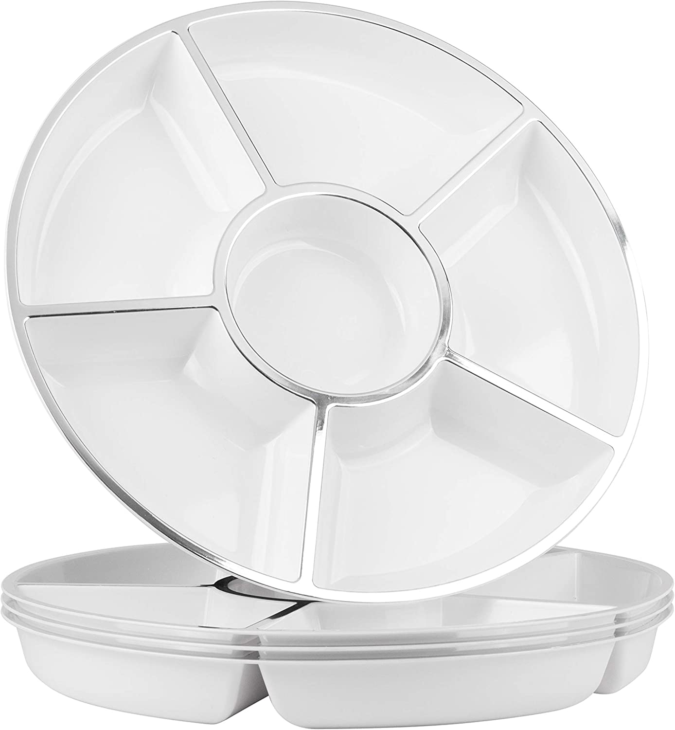 Party Bargains 6 Sectional Round Plastic Serving Tray, Size: 12 inch, Color: White/Silver, Pack of 4