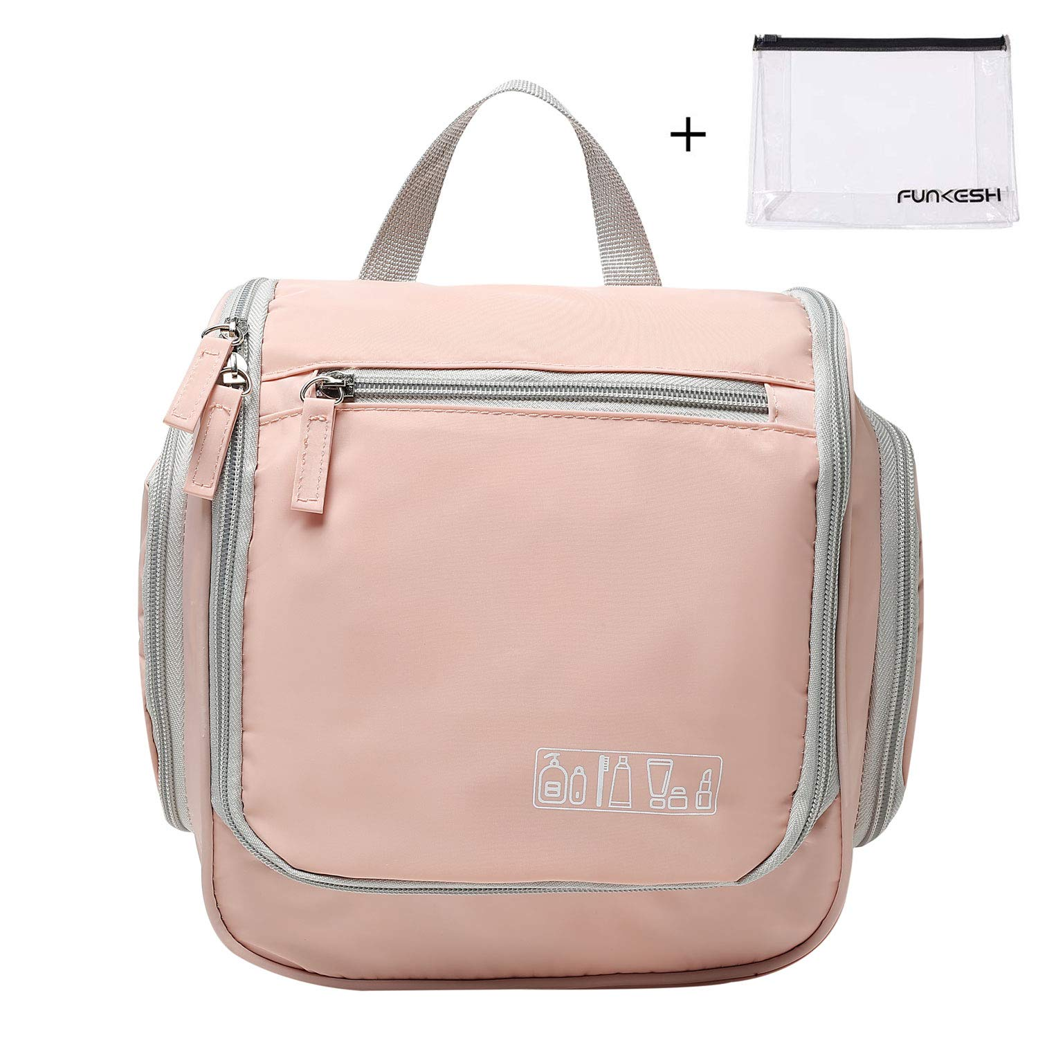 Hanging Travel Toiletry Bag for Men and Women, Travel Organizer for Toiletries, Travel Accessory and Makeup with Metal Hook Pink