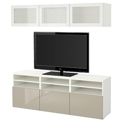 Ikea Besta Tv Storage Combination Glass Doors White Selsviken High