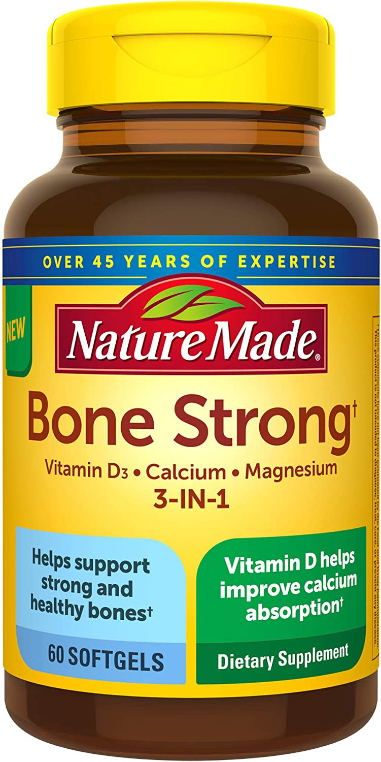 Nature Made Bone Strong with Calcium 260mg, Vitamin D3 1000IU, and Magnesium 250mg 60 Count