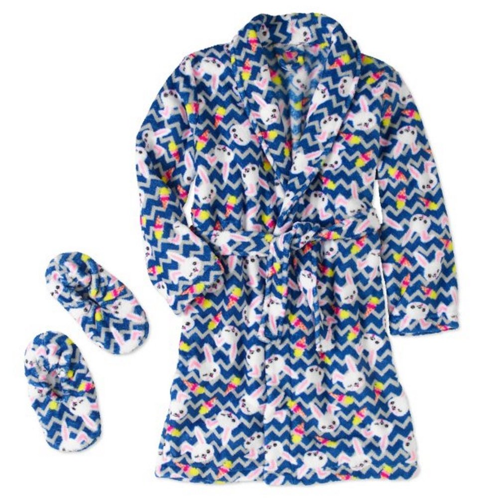 Blue Bunny Girls Robe and Slipper 2pc Gift Set Size Small 4/5 Chili Peppers