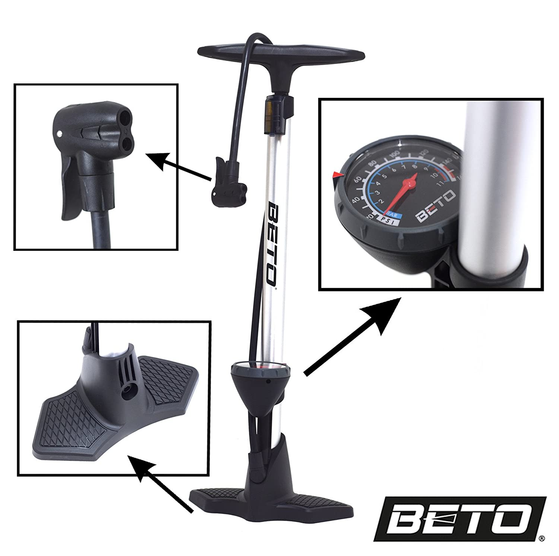 Presta Schrader MTB Road Bike Track Floor Pump Beto Echo Plastic Black