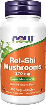 NOW Supplements, Rei-Shi Mushrooms 270 mg, Reishi/Shiitake Blend, Super Mushrooms, 100 Veg Capsules