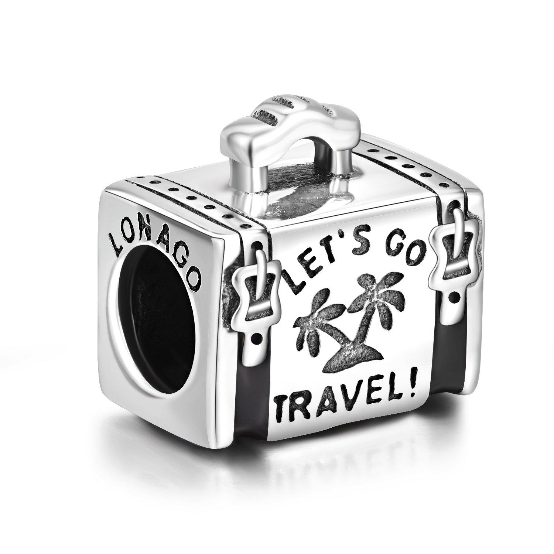 LONAGO Holiday Travel Together Luggage Case Charm 925 Sterling Silver Bead Fit Bracelet Necklace