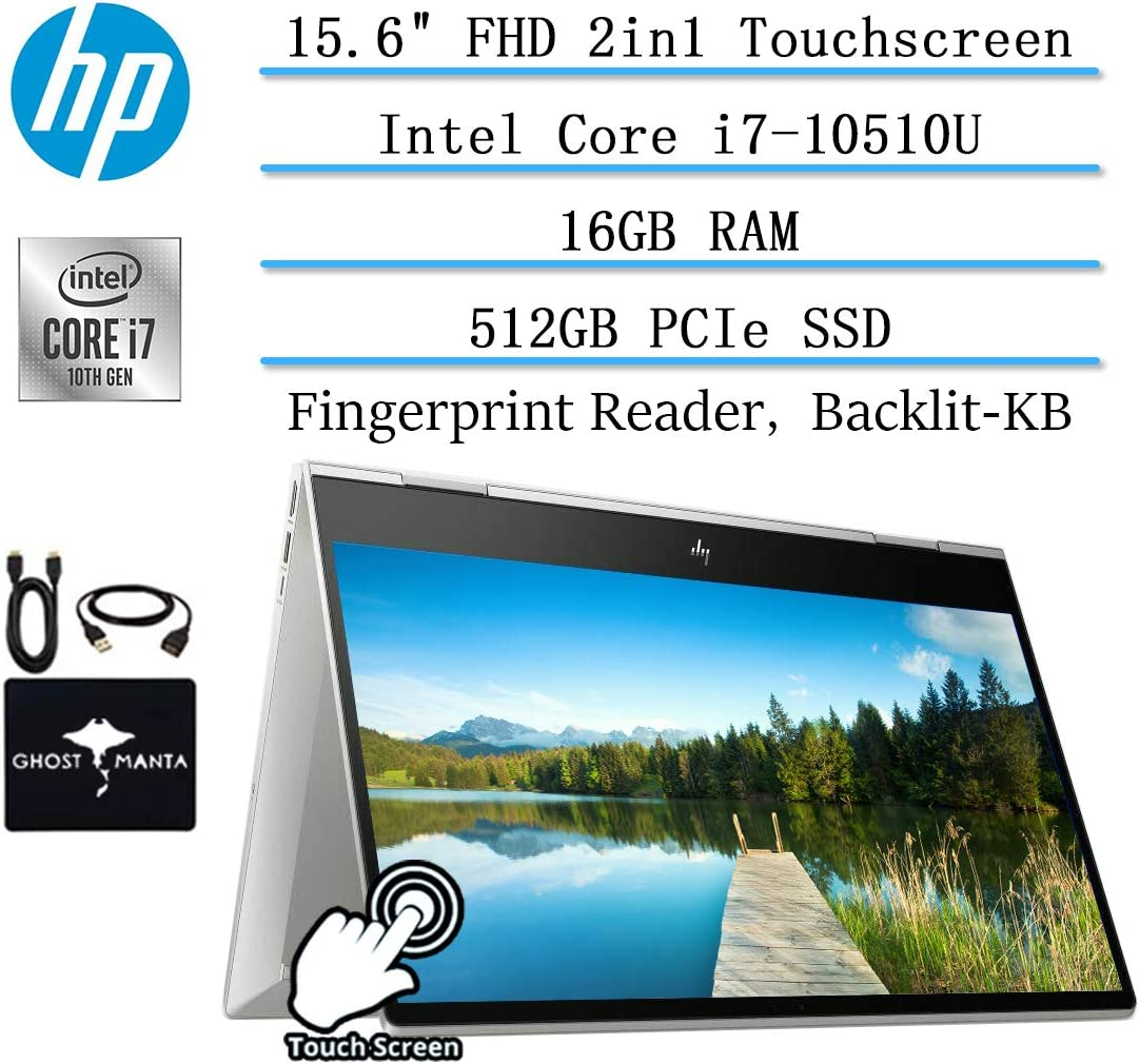 "2020 HP Envy x360 2in1 Convertible 15.6"" Laptop FHD IPS Touchscreen, 10th Gen Intel Quad-Core i7-10510U, 16GB RAM, 512GB PCIe NVMe SSD, Fingerprint Reader, Backlit KB, Win10, w/Ghost Manta Accessories"