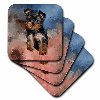 Amazoncom 3drose Cst38682 Toy Yorkie Puppy Soft Coasters Set Of