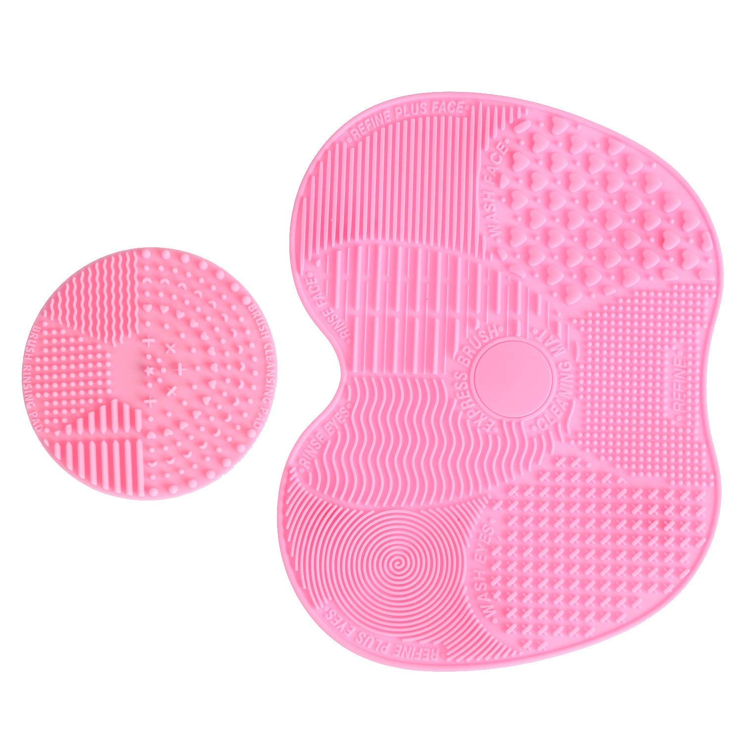 LEADSTAR Makeup Brush Cleaning Mat, Silicon Makeup Brush Cleaner Pad, 1 Apple Shaped Large Mat + 1 Round Shaped Mini Mat (Pink)