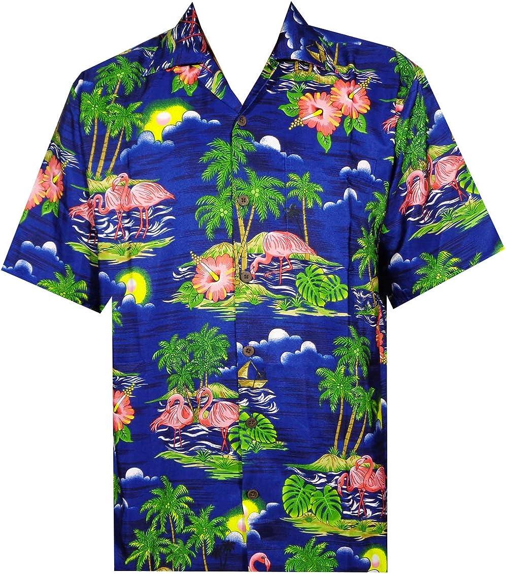 ALVISH - Camisas hawaianas de flamenco rosa para hombre, para playa, fiesta, casual, acampada, manga corta, crucero - Azul - Large: Amazon.es: Ropa y accesorios