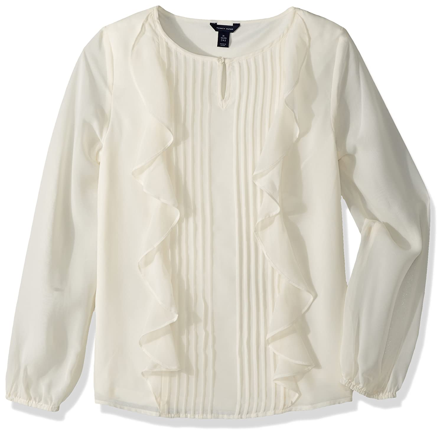 Tommy Hilfiger Girls' Big Solid Woven Blouse Whisper White Small Tommy Hilfiger Children' s Apparel TDB0107