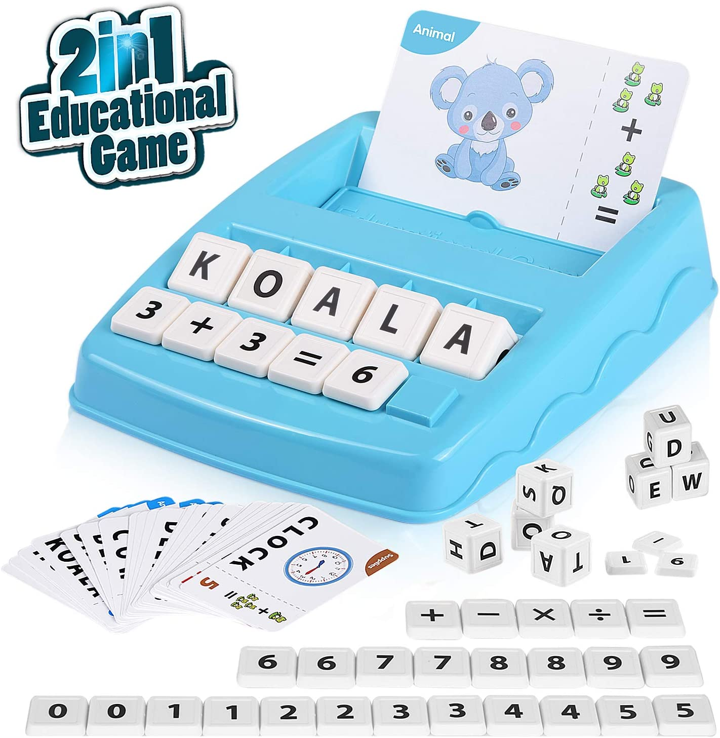 Word /& Objects /& Color Number /& Arithmetical Operation Matching Letters and Arithmetic Learning Toy for Preschool Kindergarten Girls Boys Age 3 Up Educational Game -2in1 Reading /& Spelling