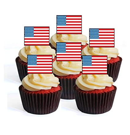 51867361409 Amazon.com  24 USA American Flag Edible Premium Thickness SWEETENED ...
