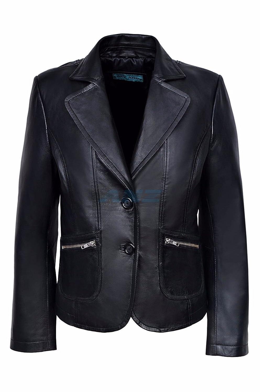 b2bc4a715d9 Jane Women Ladies Black Designer 2 Button Short Coat Collar Blazer Real  Soft Italian Leather Coat Jacket Size 8- 10  Amazon.co.uk  Clothing