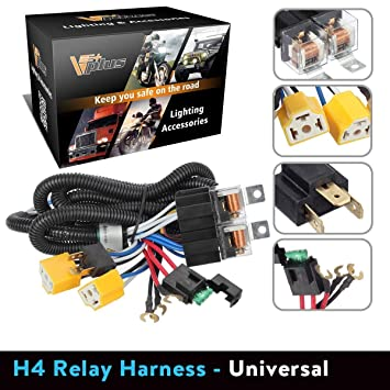 Partsam H4 9003 Headlight Relay Wiring Harness Kit High Low Beam Heat on
