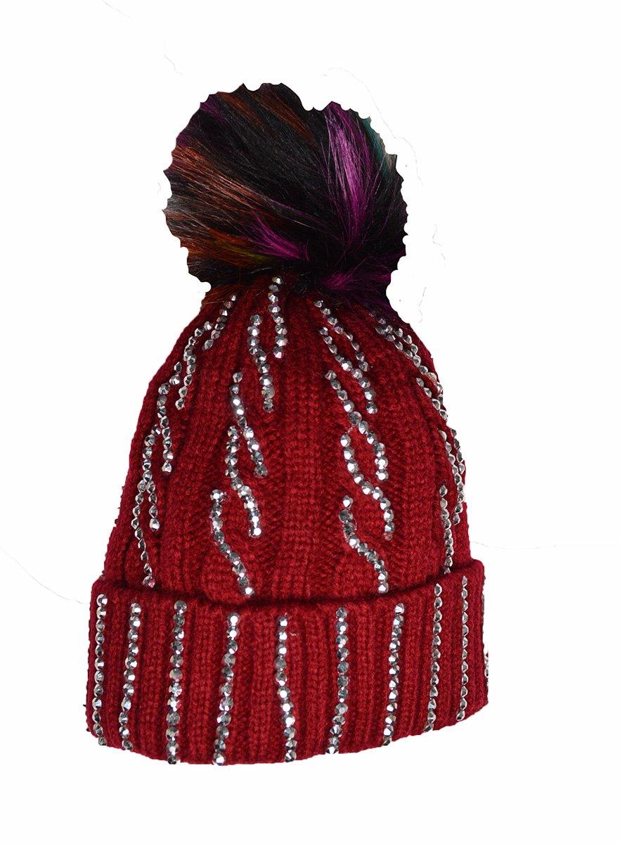 45ac3a249e9 KGM Accessories Luxury Cable Diamante Hat with multi colour Fuax fur pom ( Black)  Amazon.co.uk  Garden   Outdoors