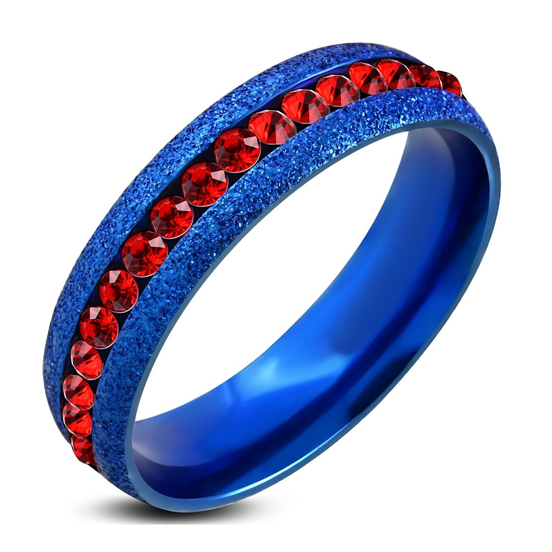 Stainless Steel Blue Sandblasted Channel-Set Eternity Comfort Fit Band Ring with Light Siam Red CZ