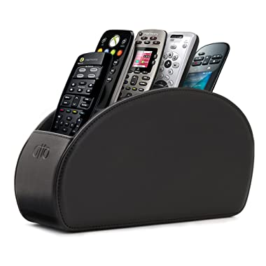OTTO Leather Remote Controller Holder Organizer Store DVD Blu-ray TV Roku or Apple TV Remotes - Italian Genuine Leather with Suede Lining Living or Bedroom Storage (OTTO93)