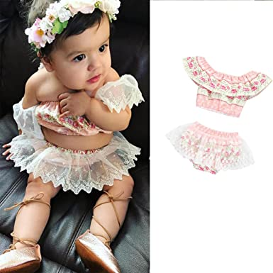 36c91fe9b0 TOOPOOT Baby Kid Mother s Day Romper Jumpsuit - Infant Baby Girls Floral  Printing Off Shoulder Lace
