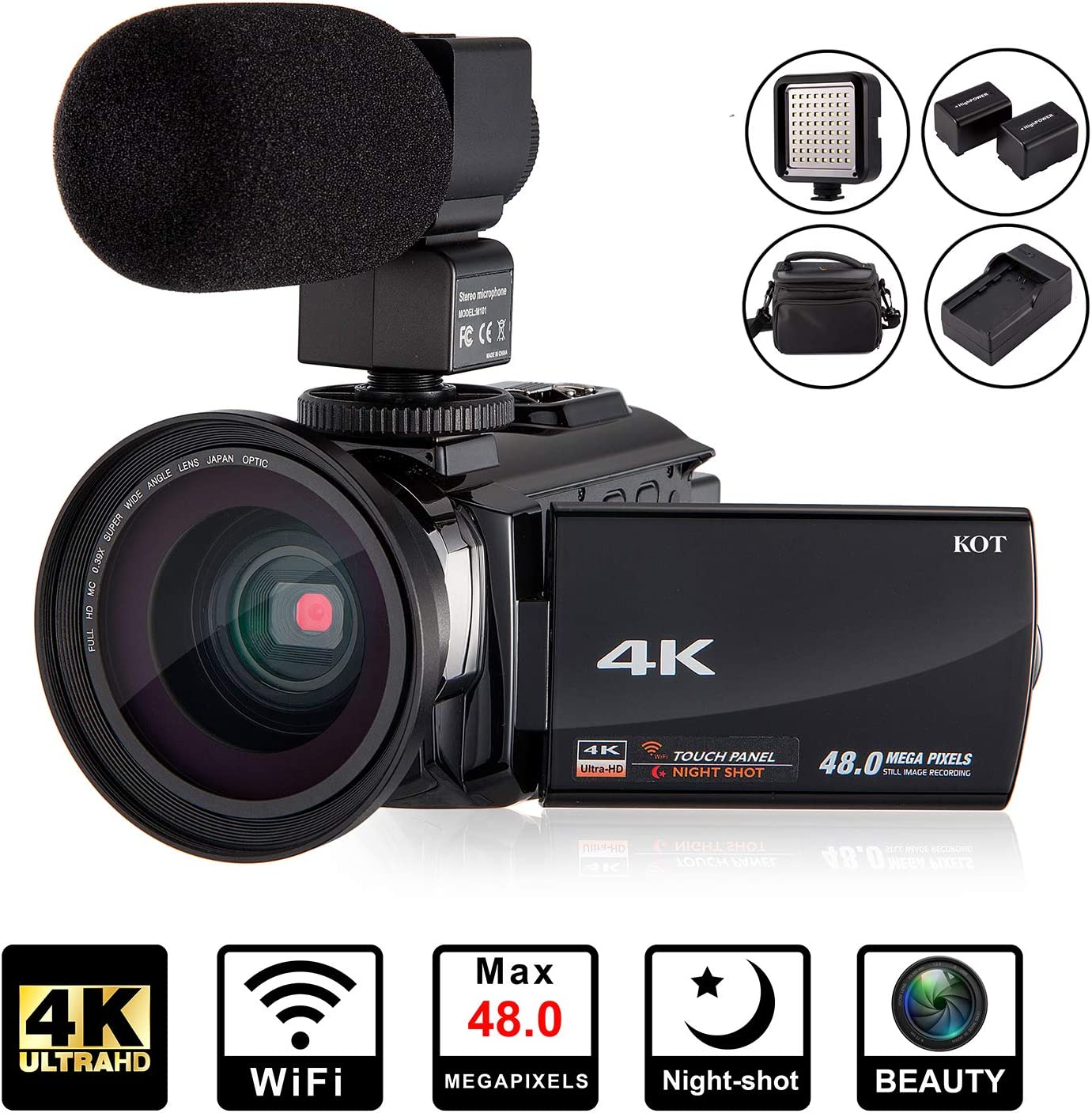 Amazon Com 4k Camcorder Video Camera Kot Hd Wifi 3 0 Inch Ips Touch Screen 48mp 16x Powerful Digital Zoom Camera With Microphone And Wide Angle Lens Ir Night Vision Vlogging Video Camera