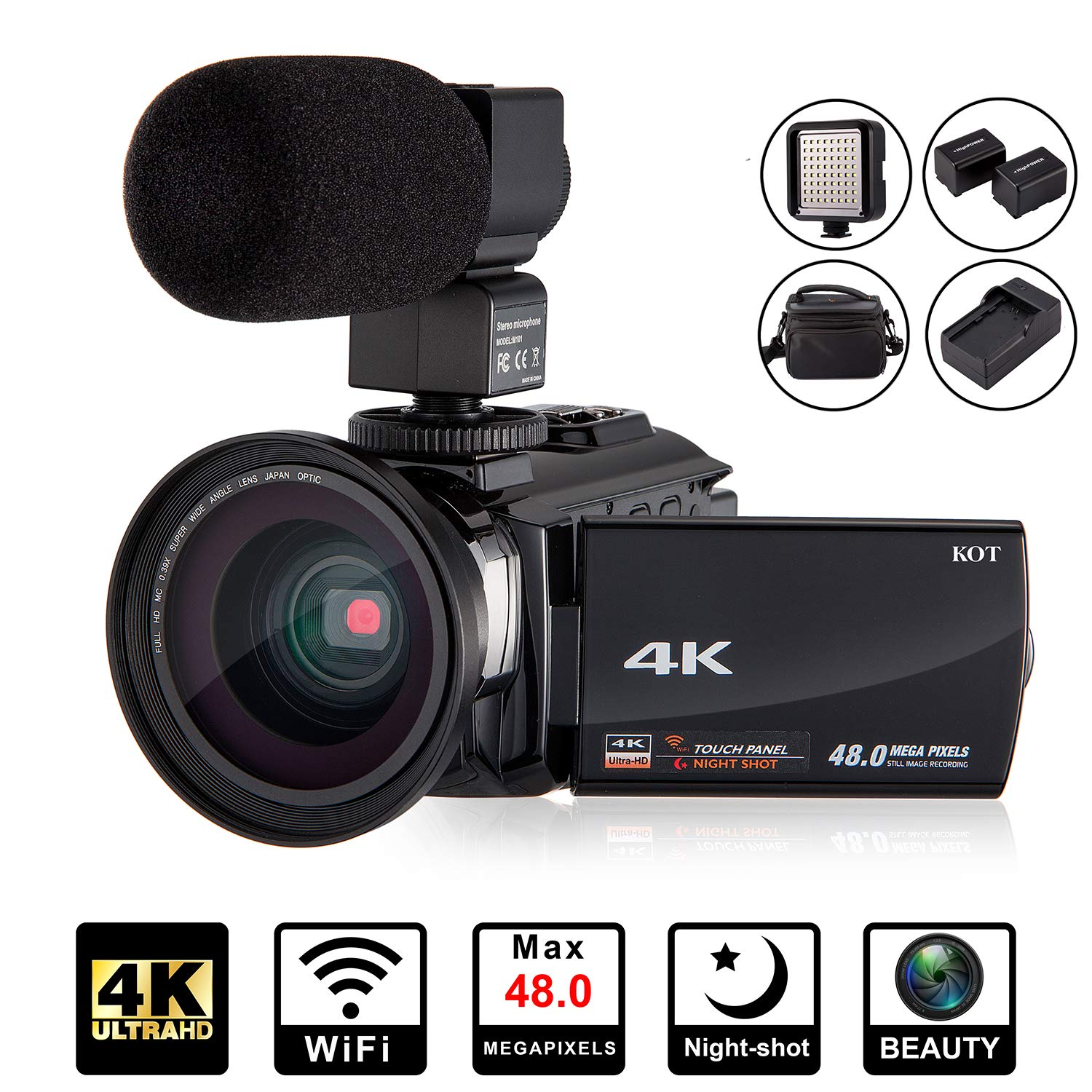 4K Camcorder Video Camera KOT HD WiFi 3.0 Inch IPS Touch Screen 48MP 16X Powerful Digital Zoom Camera with Microphone and Wide Angle Lens IR Night Vision Vlogging Video Camera Recorder Handy cam by KOT