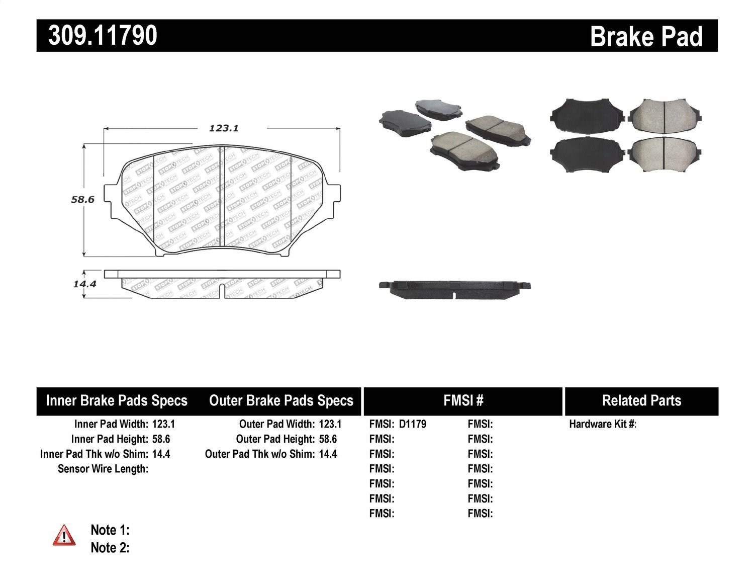 StopTech 309.11790 Street Performance Front Brake Pad