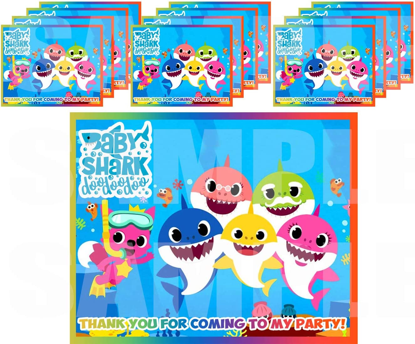 """Little Shark for Baby Shower Stickers Gift Bag Label Stickers ONLY 3.75"""" x 4.75"""" for Loot Bags Party Favors Supplies Decorations -12 pcs First 1st Birthday Infant Toddler Mommy Daddy Grandma Grandpa"""