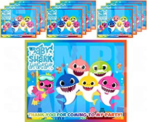 "Little Shark for Baby Shower Stickers Gift Bag Label Stickers ONLY 3.75"" x 4.75"" for Loot Bags Party Favors Supplies Decorations -12 pcs First 1st Birthday Infant Toddler Mommy Daddy Grandma Grandpa"