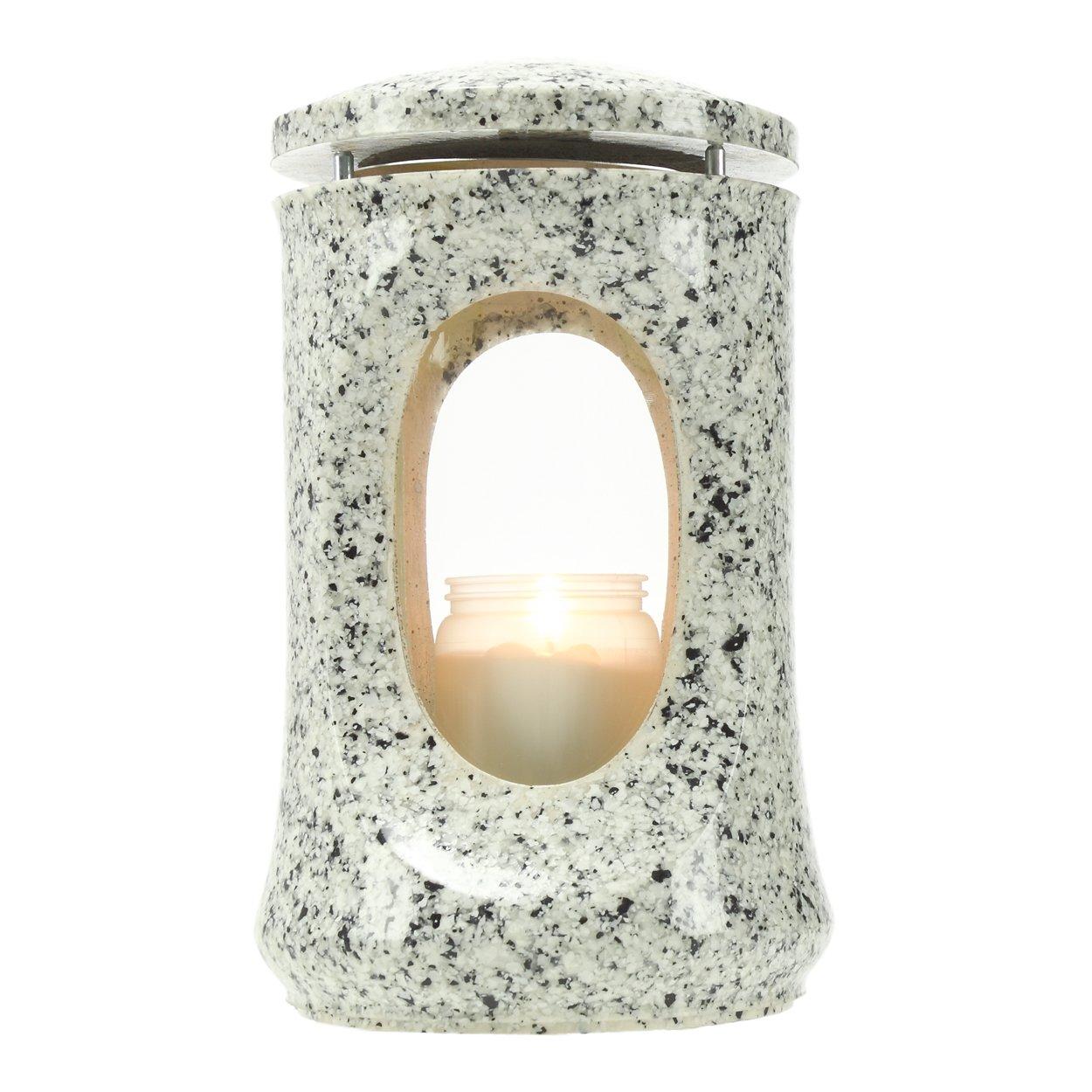 Lanterna per tomba Fumaria resina sintetica finto granito Striegau altezza 23cm