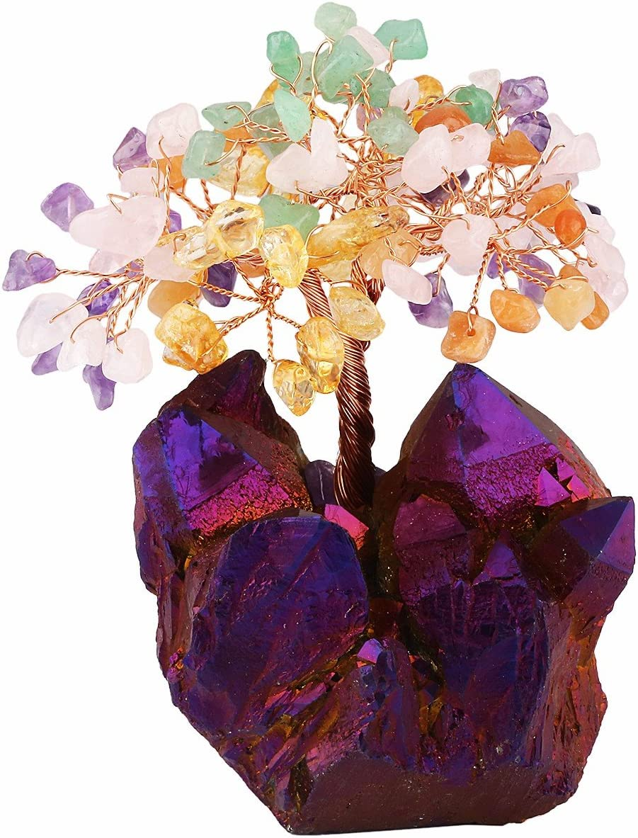 mookaitedecor Colorful Crystal Tree, Quartz Cluster Purple Titanium Crystals Base Bonsai Money Tree for Wealth and Luck