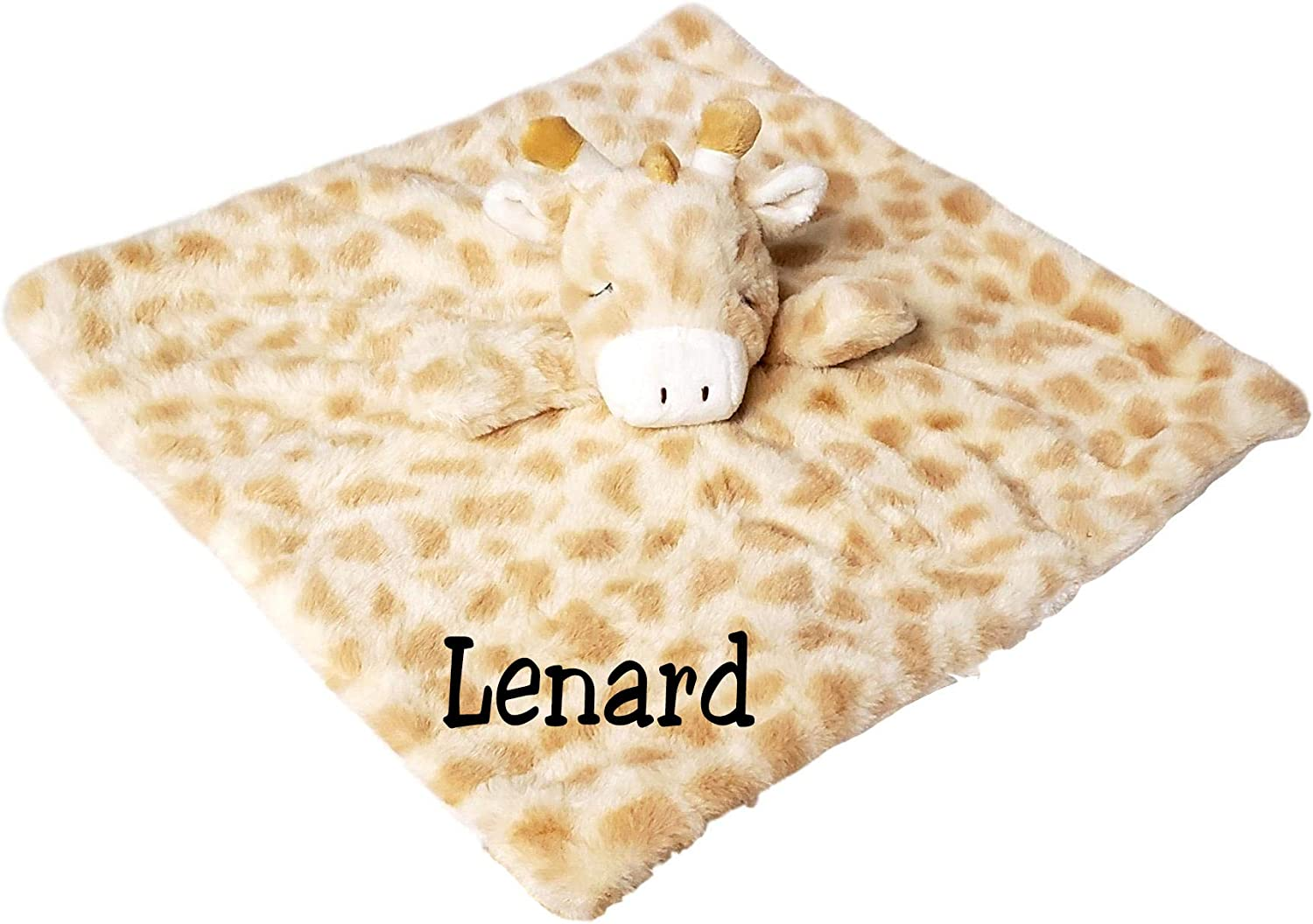 Personalised giraffe baby comforter security blanket soother rattle gift