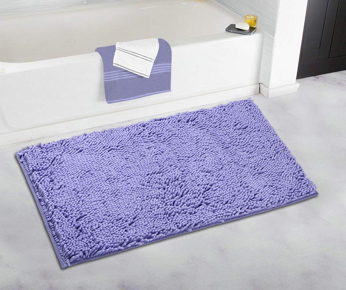 Brown 20 x 31.5 Pourmasion Bath Rugs for Bathroom Bath Mats Chenille Non Slip Soft Absorbent Machine Washable Plush Thick Dense Quality Area Kitchen Bedroom Entry Kids Bath Rugs