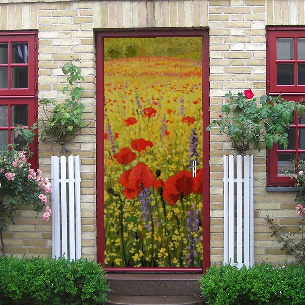 77x200cm 2 Pieces Art Yellow Mountain Poppy Oil Painting Self-Adhesive Vinyl Removable Door Stickers for Bedroom Door Sticker 30x79 Inch
