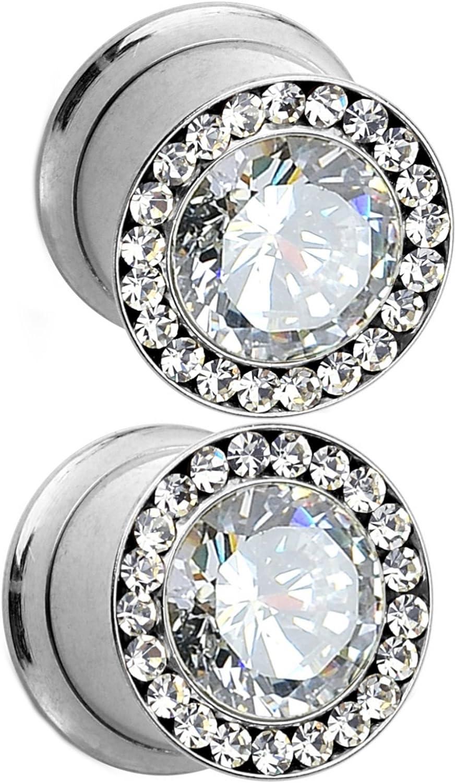 2 Pcs 4-16MM Big Cubic Zirconia Ear Plugs Tunnels Single Flared Ear Gauge O-Ring