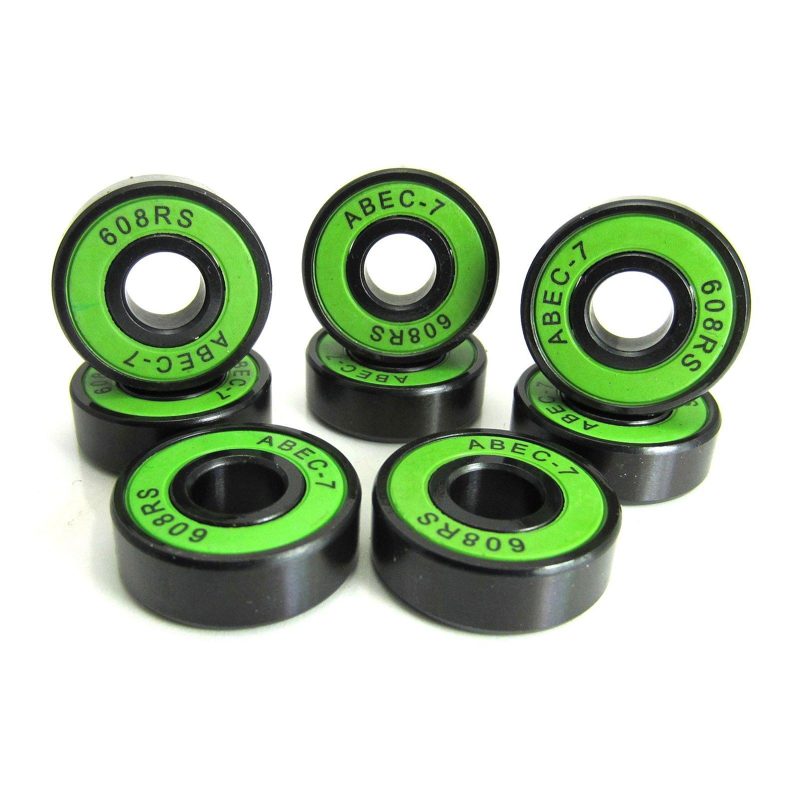 8x22x7mm BK-GR ABEC 7 Precision Skate Ball Bearings Rubber Seals (8)