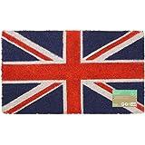 JVL Union Jack British Flag Latex Backed Coir Entrance Floor Door Mat, Fabric, Multi-Colour, 40 x 70 cm