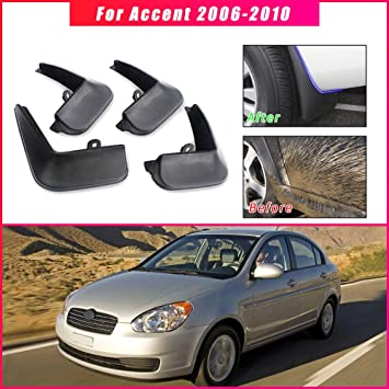 4PCS Front /& Rear Splash Guards Mud Flaps For 2006-2010 Hyundai Accent