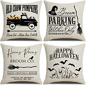 PSDWETS Fall Decorative Throw Pillow Covers with Halloween Decor Quotes Cotton Linen Home Pillow Covers 18 x 18 Inches for Rustic Modern Farmhouse Halloween Decorations