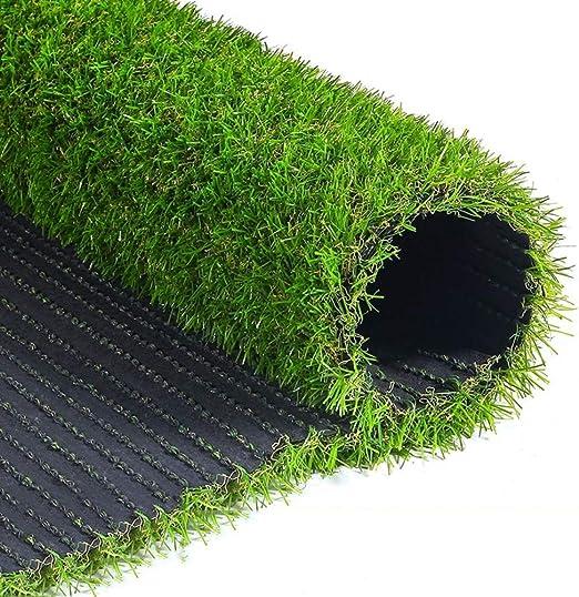 WEWE Hierba Artificial Falsa, 25mm Realista Césped Sintético Turf Mat con Orificios De Drenaje Alta Densidad Espesar Pet Turf para Patio Balcones-Verde 200x50cm(79x20inch): Amazon.es: Jardín