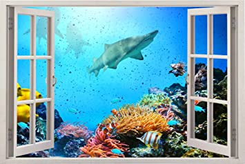 Removable Wall Decals   Huge Vinyl Mural   3D Window View Stickers   Large  Nature Poster
