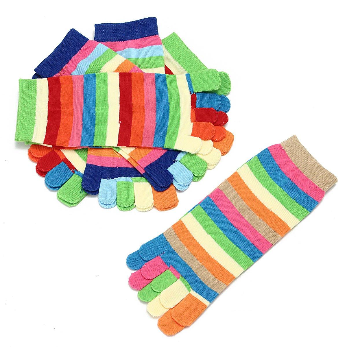 5 Finger Toe Socks - 5 Finger Toe Socks Women - 5 Pairs Lot Colorful Women Girl Color Stripes Five Finger Toe Socks Hosiery (5 Finger Socks Women)