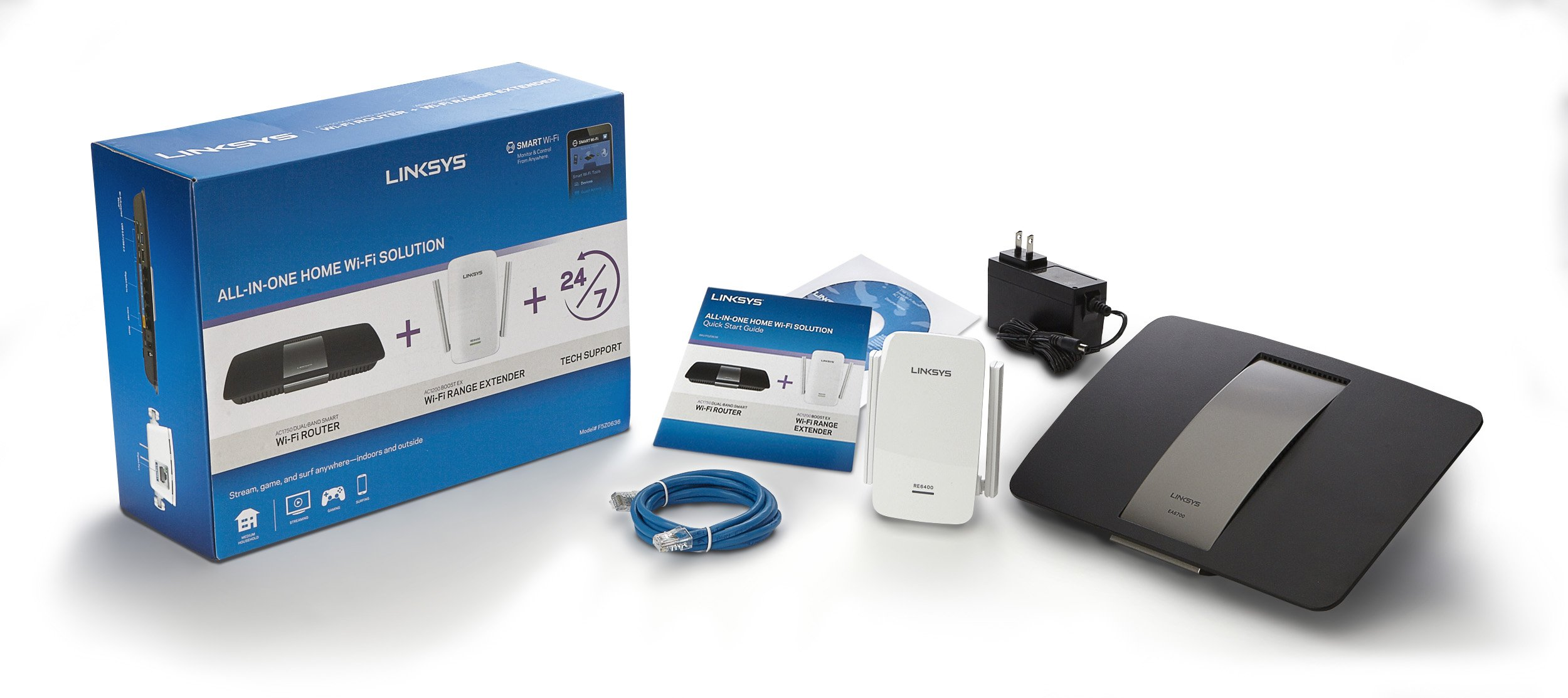 Linksys F5Z0636 All in One Home WiFi Solution Smart Router AC1750 and AC1200 Extender (Renewed) by Linksys