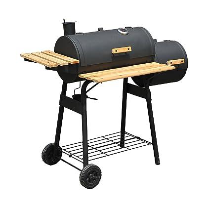 Outsunny Barbacoa Grill Carbón Estantes de Madera con Termómetro y Ruedas Barbacoa BBQ Grill con Carbón